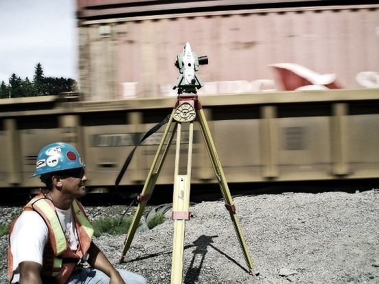 Surveying beside a frieght train in Coldwater